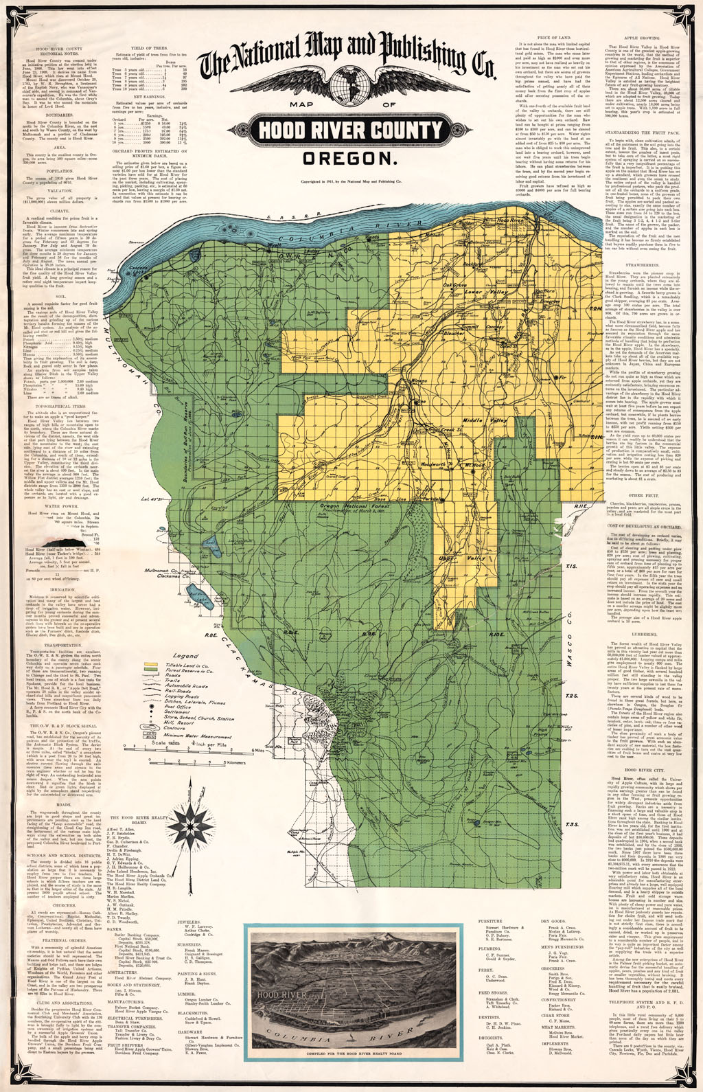 Hood River County Map, 1911