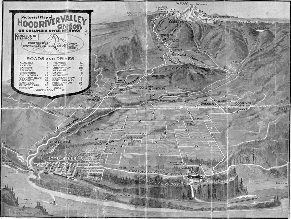 Pictorial Map of Hood River Valley Oregon
